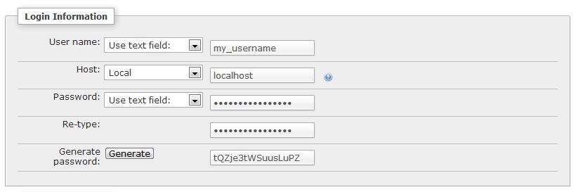 Add user in phpMyAdmin - Login info
