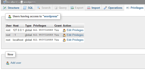 Add user in phpMyAdmin - Global privileges