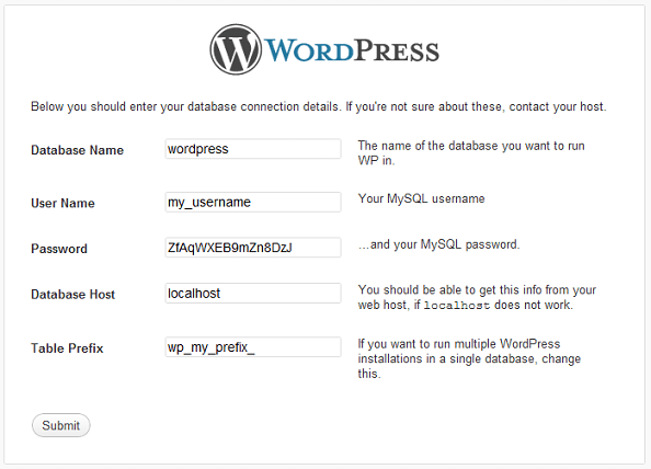 WordPress installation panel